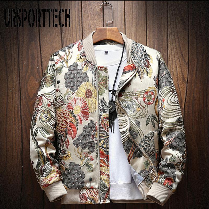 Мужские куртки Ursporttech осень зима повседневная куртка мужчины пальто японская вышивка тонкий подходящий бомбардировщик мужская ветровка пальто m-5XL