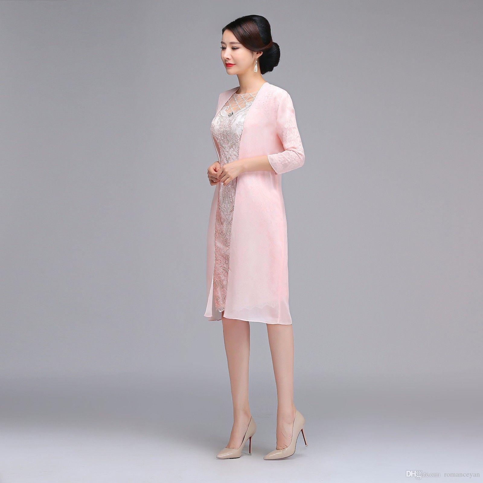 Knee Length Elegant Mother Of The Bride Dress With Long Jacket Party Dress Gown