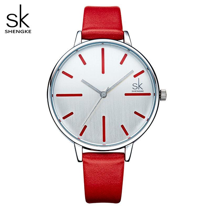 Shengke Luxus Quarz Frauen Uhren Marke Mode Leder Damenuhr Uhr Relogio Feminino Für Mädchen Weibliche Armbanduhren
