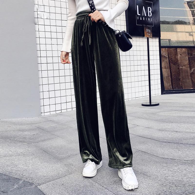 Nuovi pantaloni da donna con coulisse autunnali pantaloni corti di velluto a zampa di colore solido invernale invernale