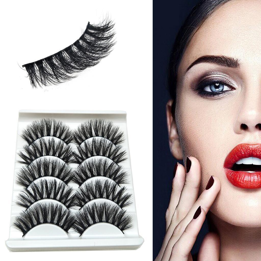 Maquillaje 5Pair 3D pestañas postizas mezcla suave y ligera de Gaza pestañas Partido Natural de visón visón extensión de la pestaña de la pestaña por Beaut