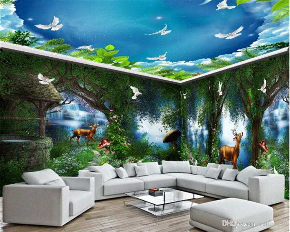 3d Wallpaper Living Room Whole House Background Wall Country Rural Fantasy Fairytale Forest Waterfall Mural Hd Wallpaper Natural Wallpapers Nature Desktop Wallpaper From Yunlin189 11 95 Dhgate Com