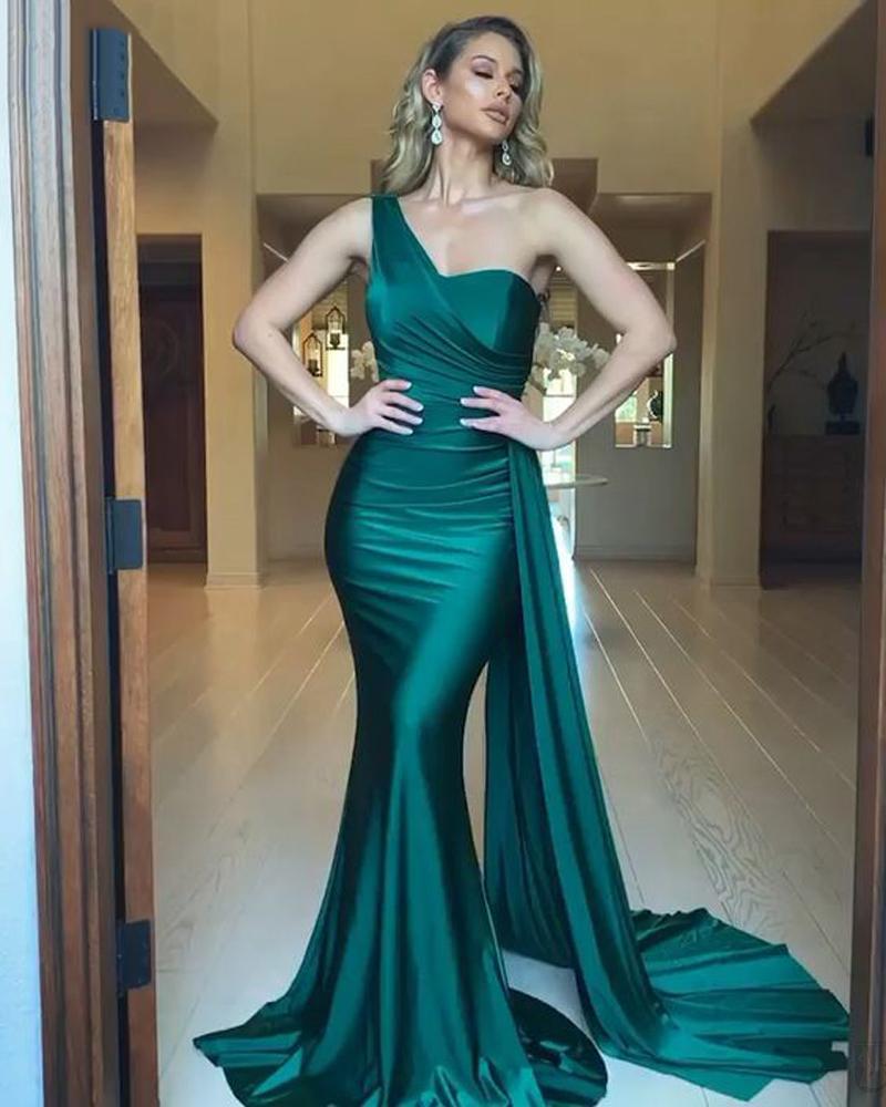 Элегантные 2020 Зеленые Вечерние платья Green Rermaid Длительное Слиссированное Сатин Один Плечо На заказ Платье для вечеринок