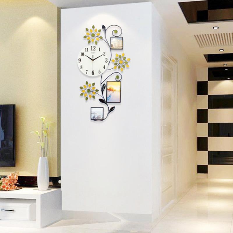Цветок настенные часы современный дизайн большой светодиодный 3D цифровые настенные часы Кухня Спальня домашние часы с фоторамкой декор фермы