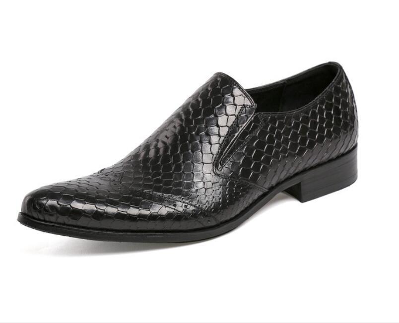 Престижный итальянский бренд мужской Оксфорд натуральная кожа платье обувь Коричневый Черный Snake Pattern Мужчины Формальная Свадебная обувь DA33