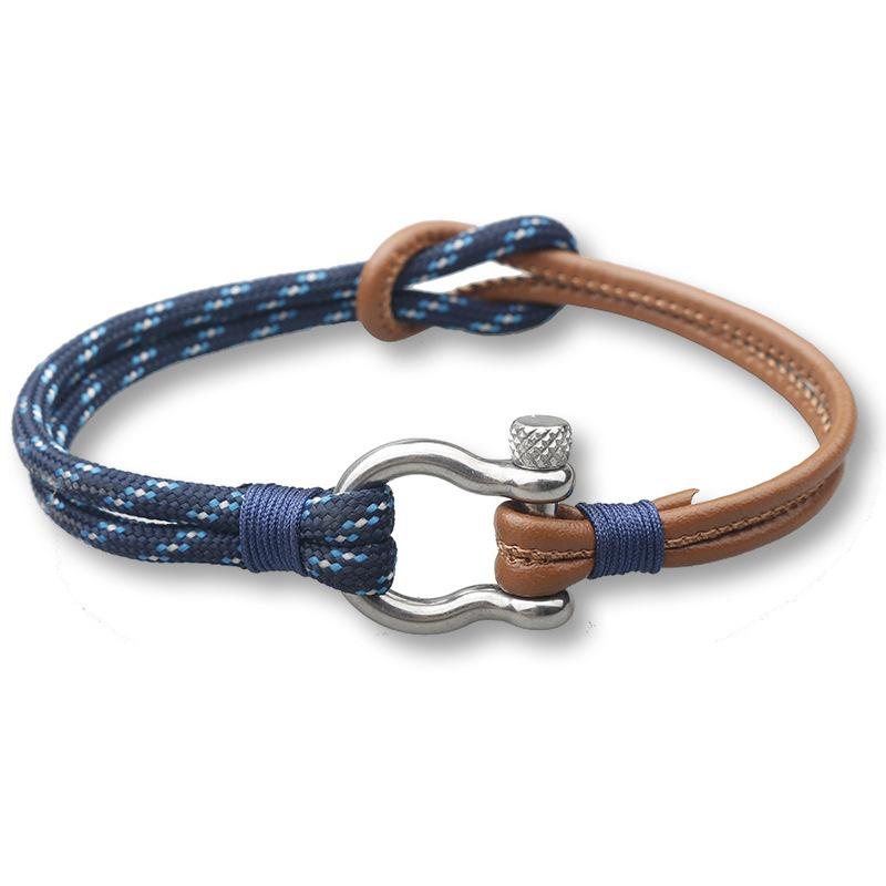 Fashion-Parachute cord Survival Leather Bracelet Men Women High Quality Fashion Jewelry Stainless Steel Shackle Buckle Bracelets