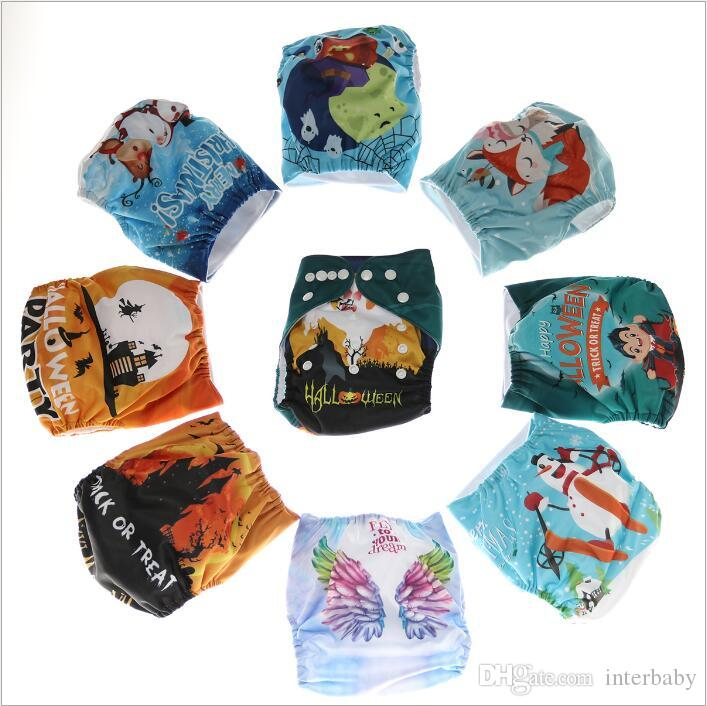 Baby Cloth Diapers Toddler Print Diaper Covers Cartoon Nappies Reusable Waterproof Nappy Changing Newborn Adjustable Washable Diapers B4246