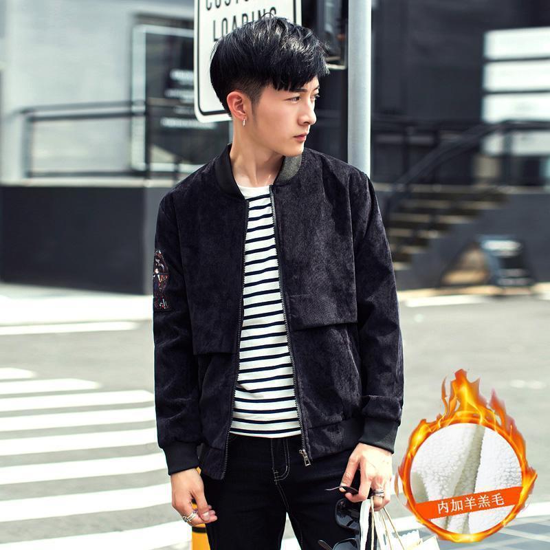 Brasão de impressão soltas das Cool2019 Mao Cordeiro Inverno Jiahou Corduroy Baseball Jacket Men chumbo