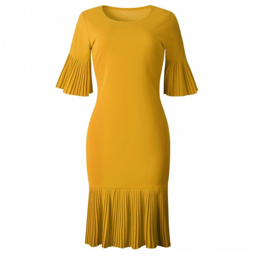 2019 verão amarelo vermelho plissado detalhes flare manga outono moda feminina dress drapeado escritório senhoras casual o pescoço midi vestidos