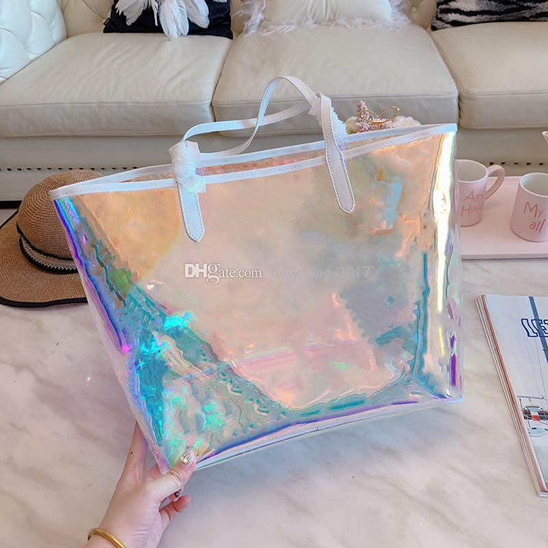 Nuevo Dazzle Rainbow Rainbow Alma BB BB Bolsa de impresión Bolsos de impresión Bolsos Clear Handbags Embrague Láser Flash PVC Embragues Bolsos Bolsa de lona transparente