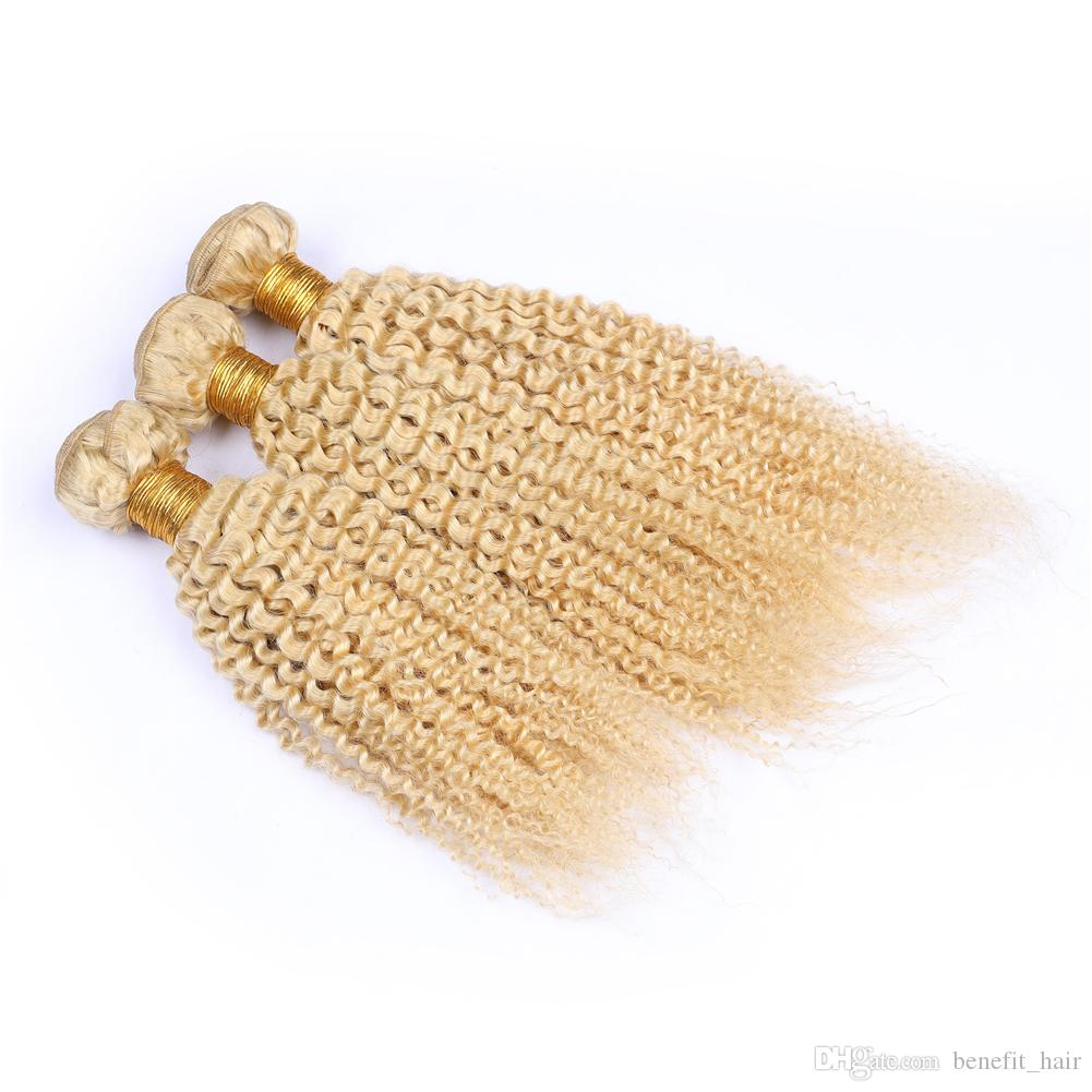 Blench Blonde Color Afro Kinky Curly Hair Extension 3Pcs For Woman Malaysian Virgin Human Hair Weaves Kinky Curly Blonde Human Hair Weft