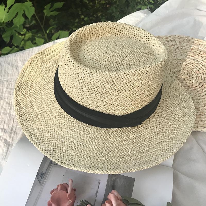 Yaz erkek ve kadın el dokuması Düz geniş ağzına düz üst şapka şemsiye tatil plaj güneş şapkası güneşlik
