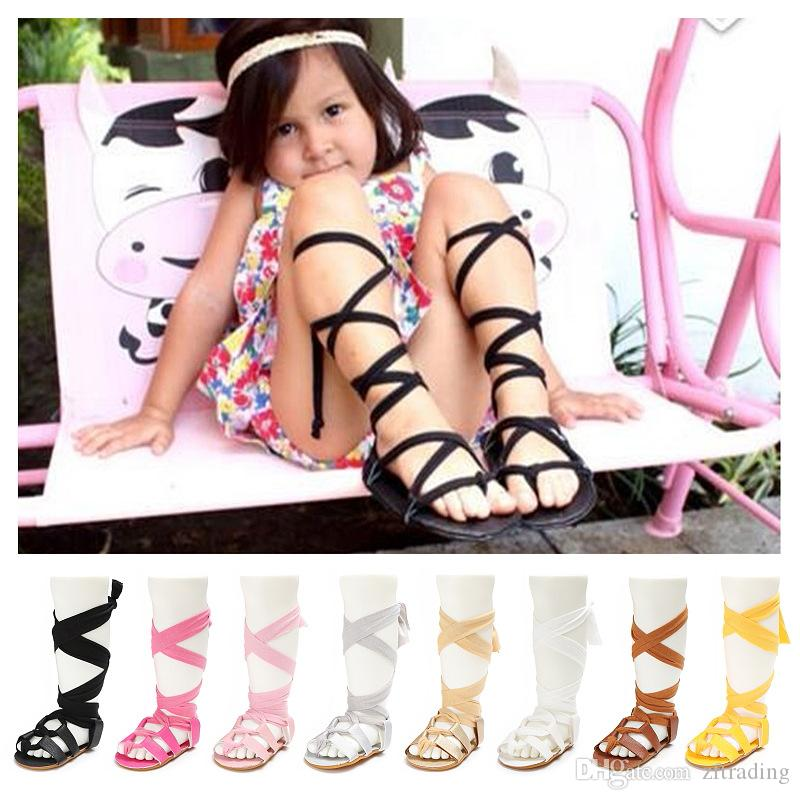 Latest design summer baby girl sandals princess first walkers non-slip sweet kids girl solid colour bandage shoes