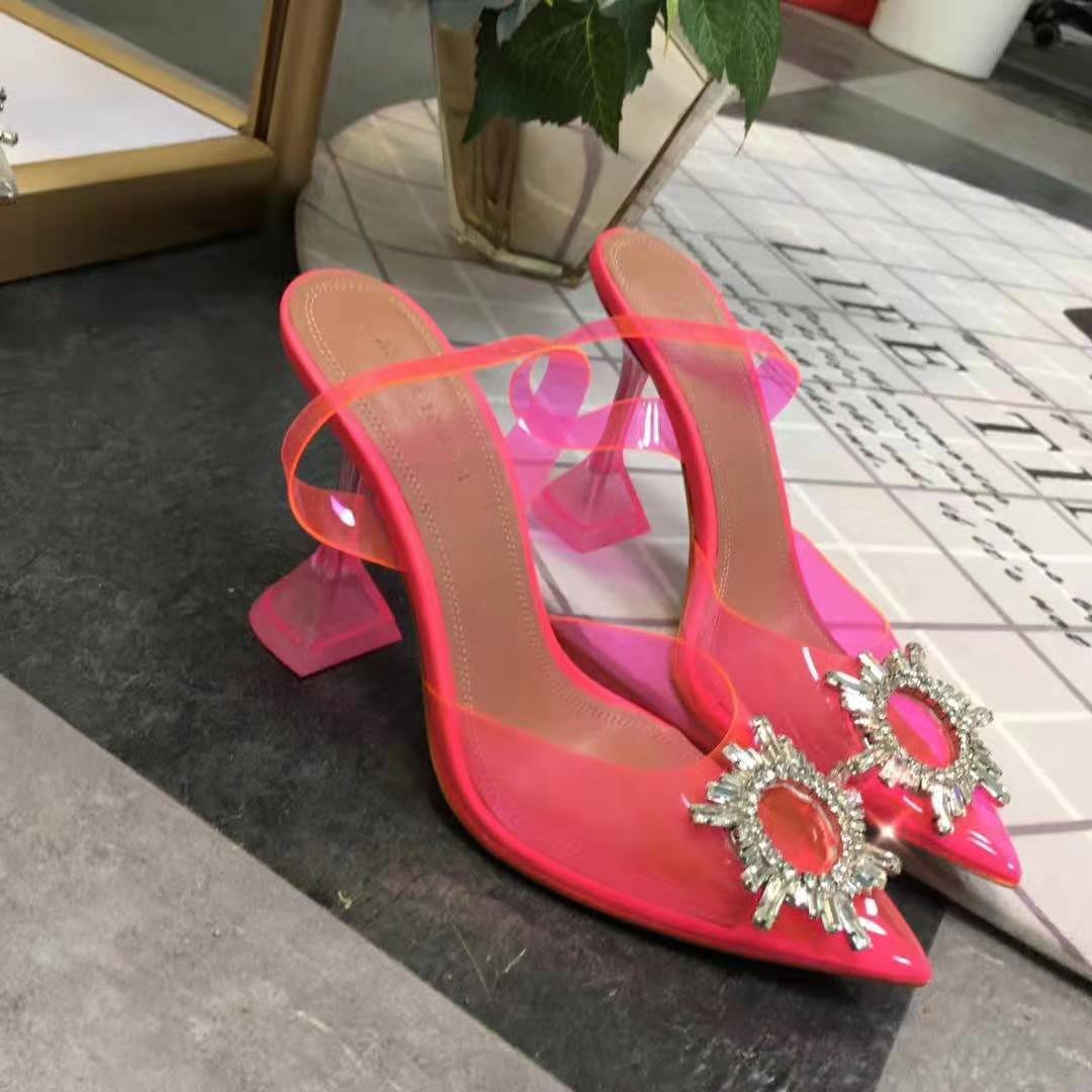 embellecido-Cristal calidad perfecta Oficial Amina Begum de PVC de talón abierto Bombas Muaddi Begumglass manera transparente sandalias de los zapatos