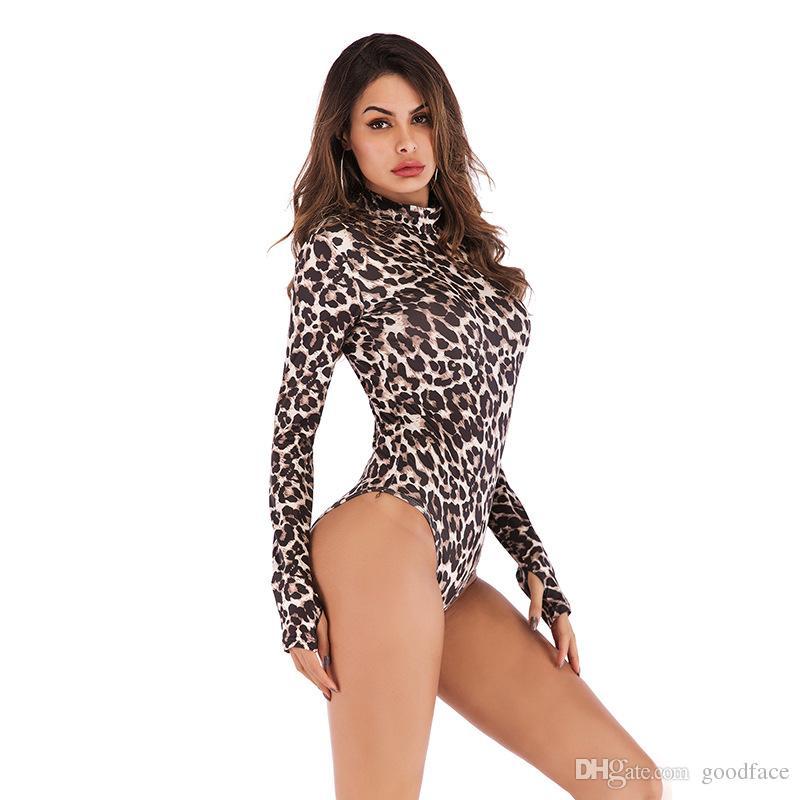 Em estoque estampa de leopardo manga comprida macacões macacão de verão mulheres blusas plub evening party dress terno