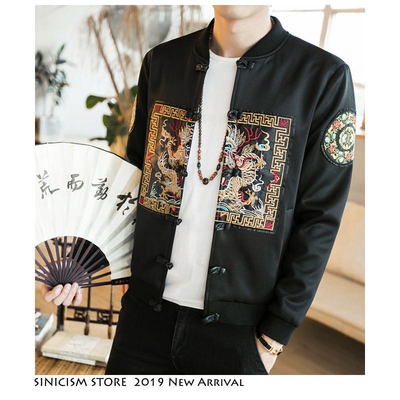Sinicism Store Hommes Nouveau 2019 Automne Broderie Vintage Vestes Hommes Lâche Surdimensionné Streetwear Vêtements Mâle Hip Hop Boucle Vestes