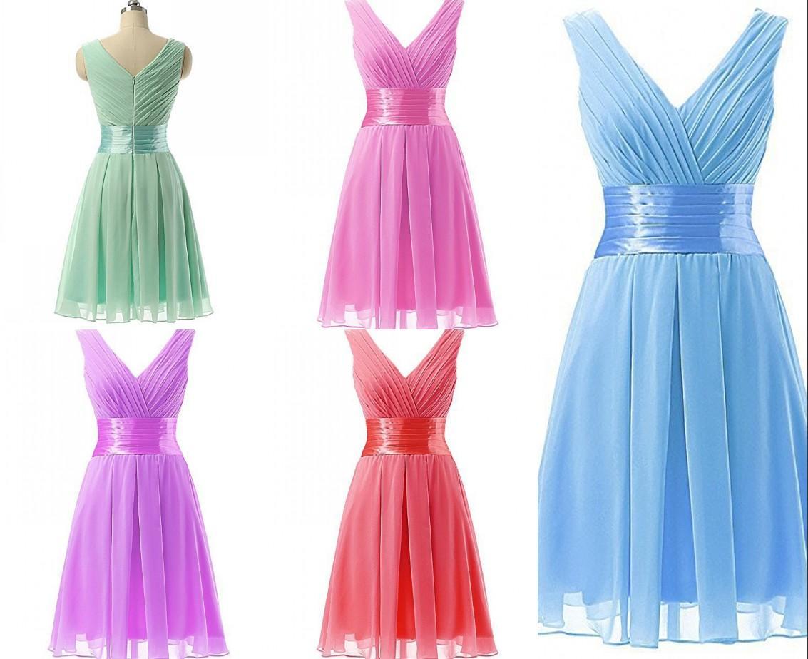 Frauen-beiläufiges Kleid neuer V-Ausschnitt koreanische dünne feste Falte Taille schlank Chiffon Rüschen Brautjungfer Kleid