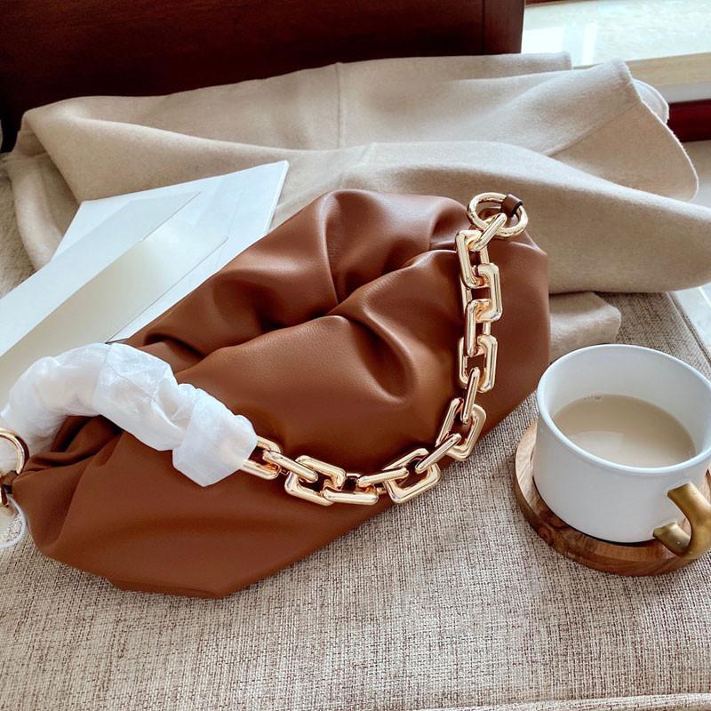 Кожаные кожаные сумки цепные руки высококачественные женские сумки облачные сумки подлинной сумки реальная сумка дамы плечо jktkv qhnhs
