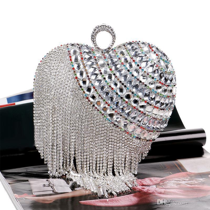 Designer- spécial en forme de coeur sac de soirée luxe Tassel embrayage Diamond Day femmes en or Sacs de mariage Chain Sac à main Totes bolsos mujer ZD372