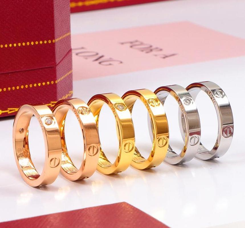 venta caliente de Rose de acero inoxidable de oro el amor mujer de la joyería del anillo de los anillos de bodas de los hombres para la caja de regalo de las mujeres Mujeres regalo de compromiso con la caja original, n
