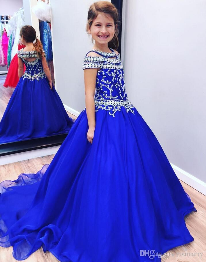 Royal Blue Crystals Toddler Girls Pageant Dresses 2019 A Line Plus Size Cheap Girls Glitz Birthday First Communion Party Gowns For Kids