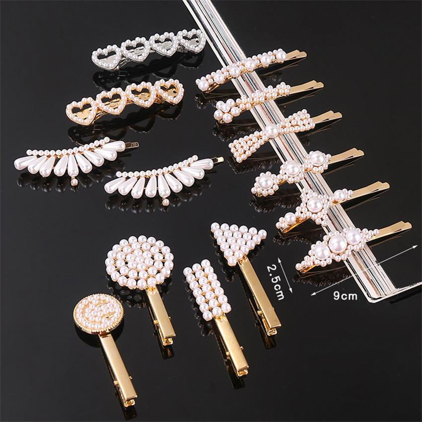 Clips di stile coreano donne dei capelli della perla delle forcelle Modelli misti Shiny Jewelry Hair Clip Barrette per ragazze adulti Accessori per capelli E3202