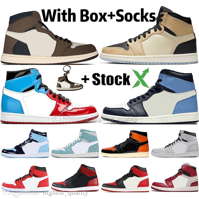 1 High Travis Scotts scarpe funghi Fearless Obsidian UNC Mens Basketball Turbo verde 1s Chicago Banned Toe Bred Uomini Sport Sneakers