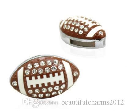 50pcs / lot 8mm Strass Football americano / Rugby sport scorrevole fascino misura 8mm braccialetto braccialetto risultati gioielli fai da te