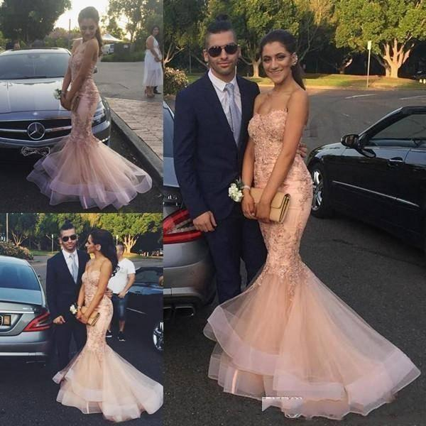 Moda Champagne Lace Tull sereia vestidos de baile longo até o chão Querida Formal Evening vestidos com bordado desconto Árabe Vestido Mulheres