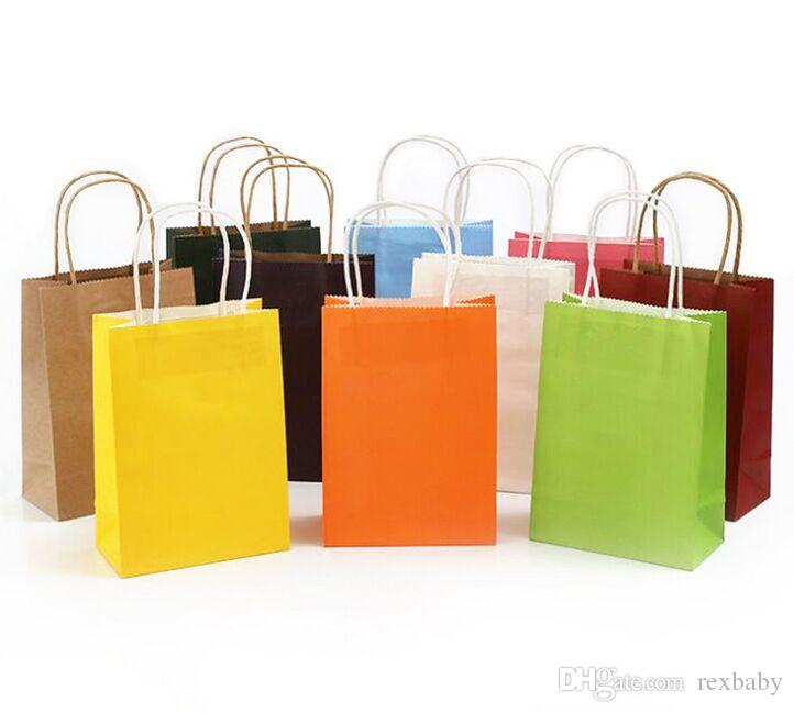 10 Packs of Kraft Paper Bags Eco Friendly Shopping Pouch Colorful Gift Packaging
