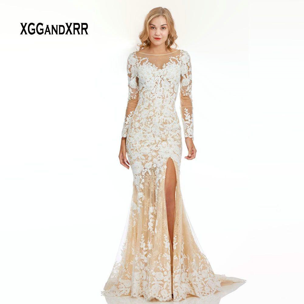Großhandel Elegante Lange Ärmel Meerjungfrau Abendkleid 18 Luxus Spitze  Abendkleid Weiß Spitze Applique Seitenschlitz Backless Formale Party Kleid