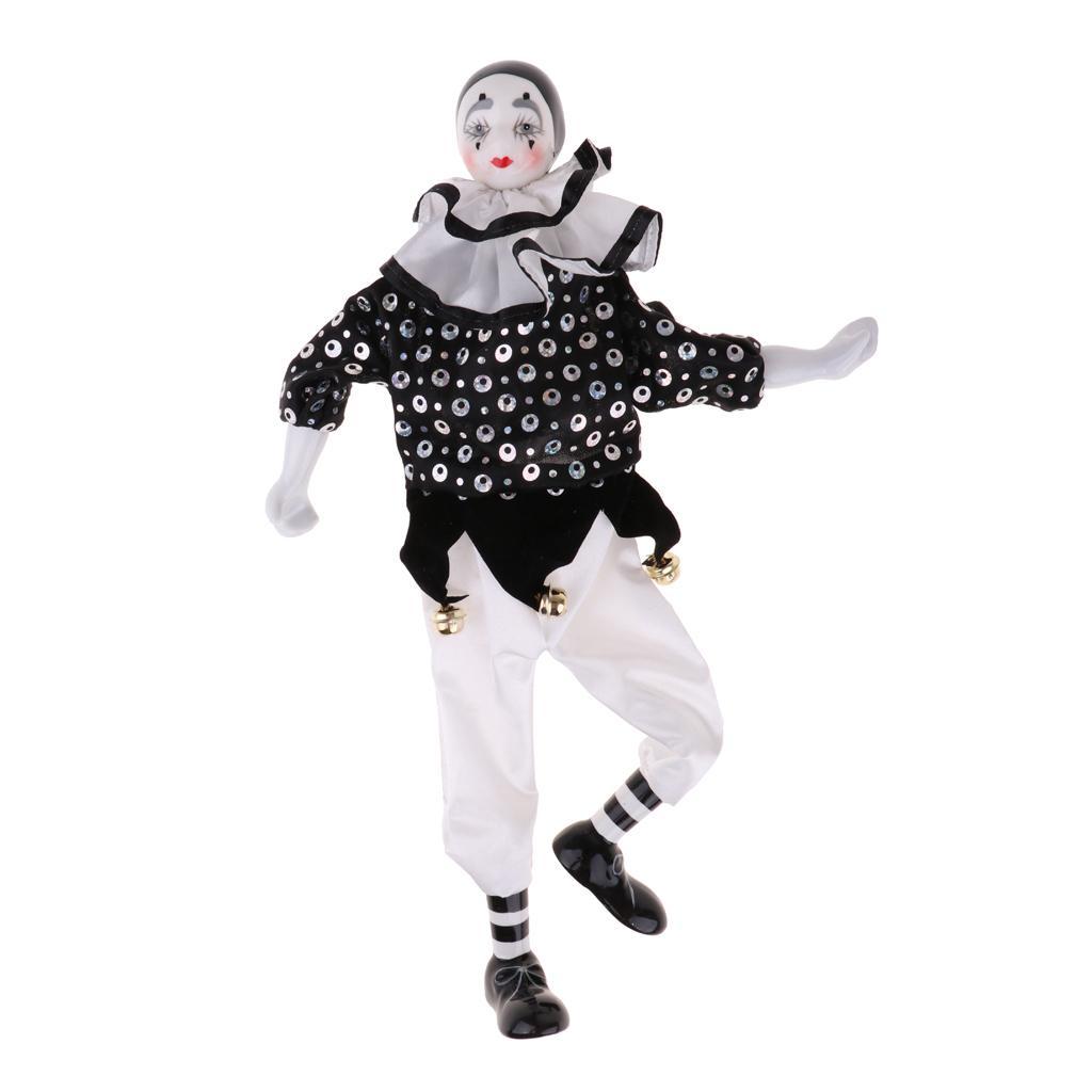 15 pulgadas de porcelana en forma de lágrima Muñeca del payaso blanco que usa Negro Trajes, divertido Arlequín muñeca, circo accesorios, decoración de Halloween