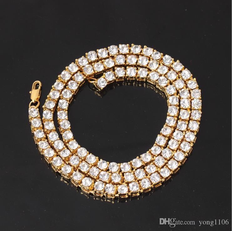 Hip-hop explosiva de los hombres de la manera del collar 1 Fila aleación del diamante collar colgante de taladro individual entero de agua sola fila collar de alta calidad