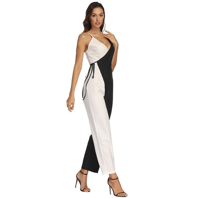 Оптово-Элегантный черная и белого сшивание Sexy Спагетти ремень Rompers женщины Комбинезон без рукавов BacklessBow Повседневных Широких ног Комбинезоны