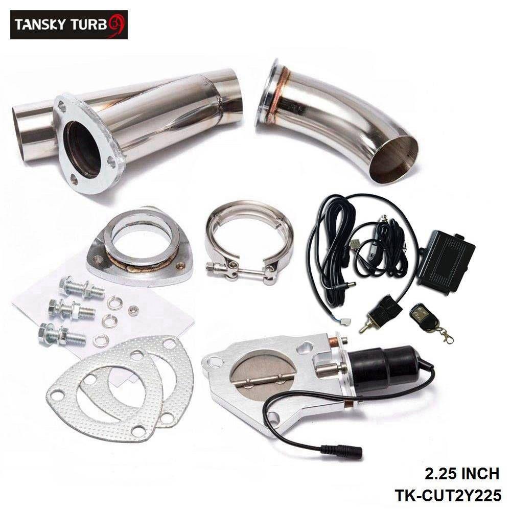 "TANSKY - exhaust cutout valve 2.25"" /E-cutout W/Switch /Remote /Switch+Remote Downpipe Cut out Valve System Kit"