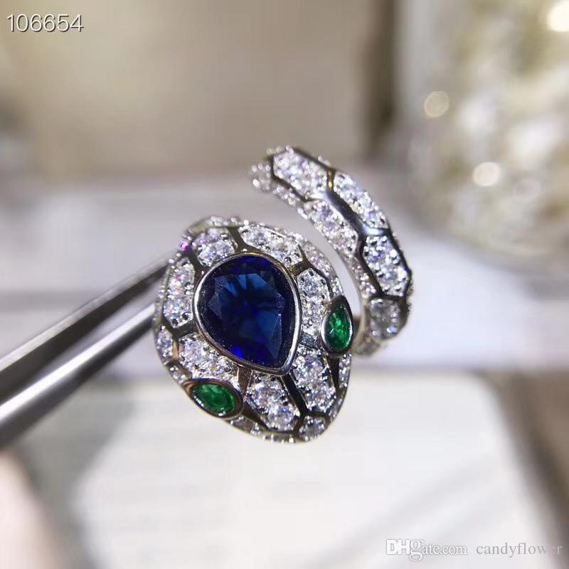 Оптовая Высокое качество дизайнер новая мода CZ бриллианты животных панк-змея кольцо 18-каратного белого золота, ювелирные изделия для партии