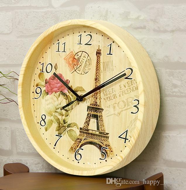الخشب ساعة الحائط الرجعية جولة باريس برج ايفل الرقمية إبرة ساعة الأزياء منزل مطعم الديكور ساعة أعلى جودة