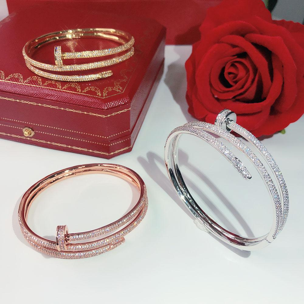 Hot brands screw Full drill nails Gold Bracelets Women Bangles Punk for Best gift luxurious Superior quality jewelry Three Circle Bracelet