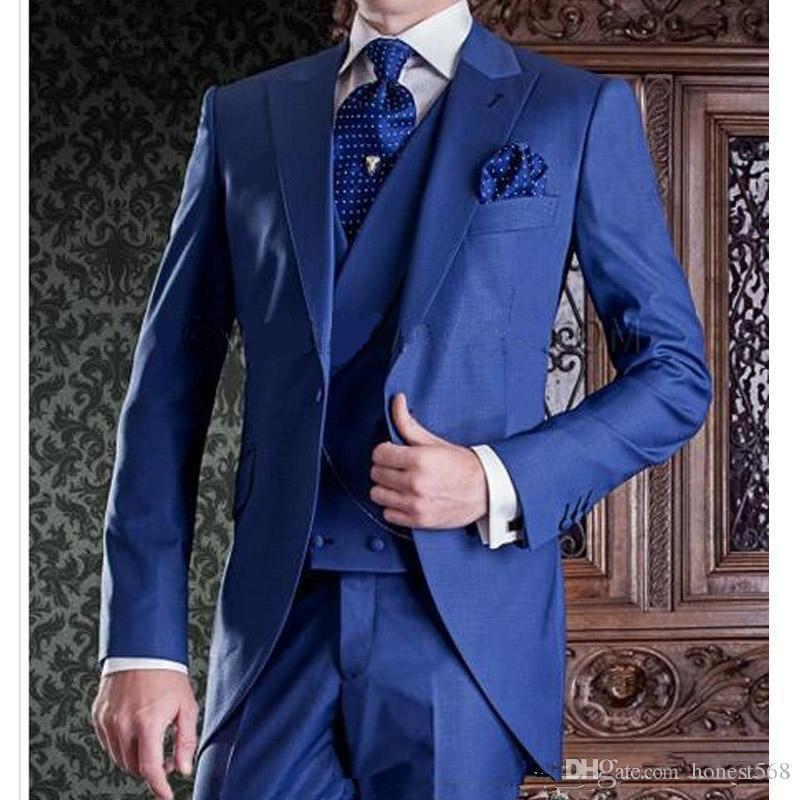 Beau Un bouton Groomsmen pic Lapel smokings marié hommes Costumes de mariage / robe de bal / dîner Best Man Blazer (veste + pantalon + cravate + Gilet) 907