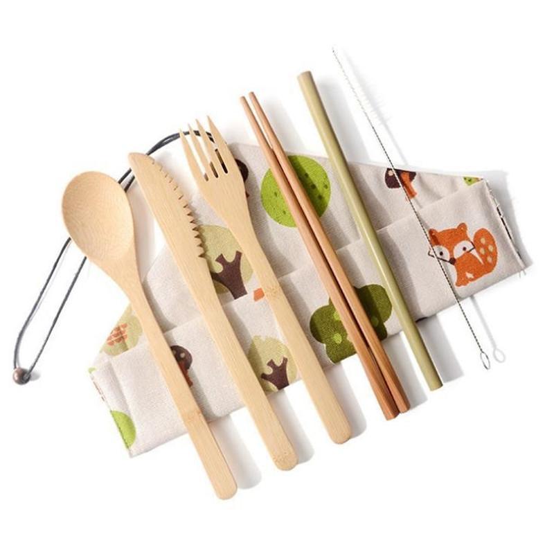 Portátil de bambú natural de la paja Cuchara Tenedor Cuchillo palillos cepillo de limpieza Utensilios de cocina de bambú cubiertos conjunto DA250