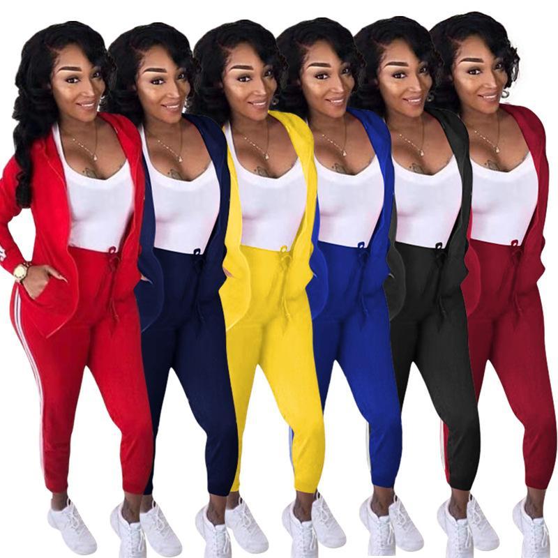 set di 3XL inverno delle donne Tuta completa maniche lunghe con cappuccio Giacche Matita vestito di pantaloni Sportwear due pezzi Tute Tuta