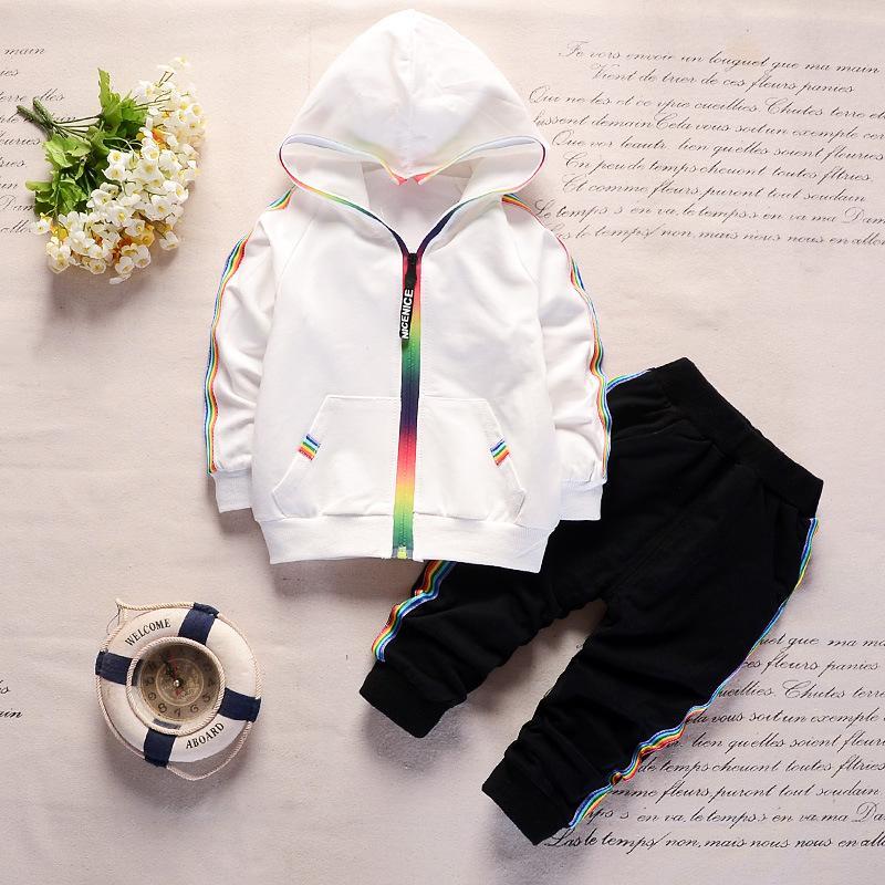 Otoño del niño del chándal Ropa de bebé niños de los sistemas de los muchachos ropa de las muchachas de los niños de algodón con cremallera con capucha chaqueta y pantalones 2 juegos de las PC