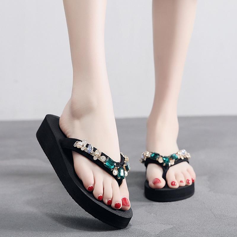 Литтинг лето флип-флоп женщины повседневные женские тапочки чешские пляжные туфли летние повседневные сандалии толстые нижние тапочки
