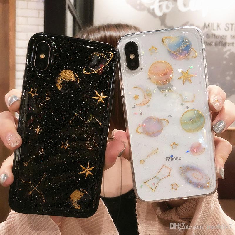 Luxe Glitter Space Planet Couverture Arrière Pour iPhone 6 6S 7 8 Plus XS Max Clair Doux Étoile En Silicone Pour iPhone X 5 5S XR Téléphone CasLuxe Glitte