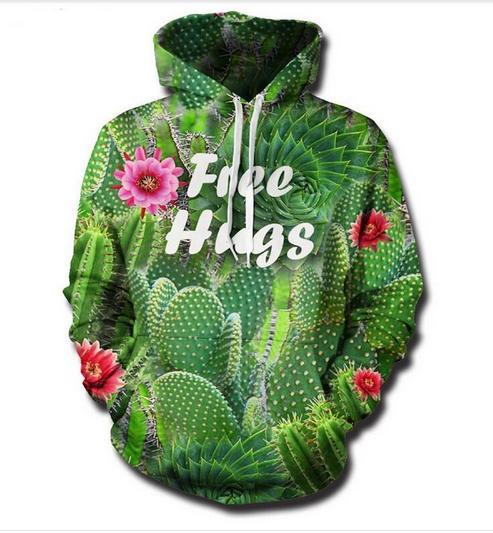 Nouveau Mode Couples Hommes Femmes Unisexe HD Le cactus Drôle 3D Imprimer Hoodies Sweat Veste Pull Tops RW028