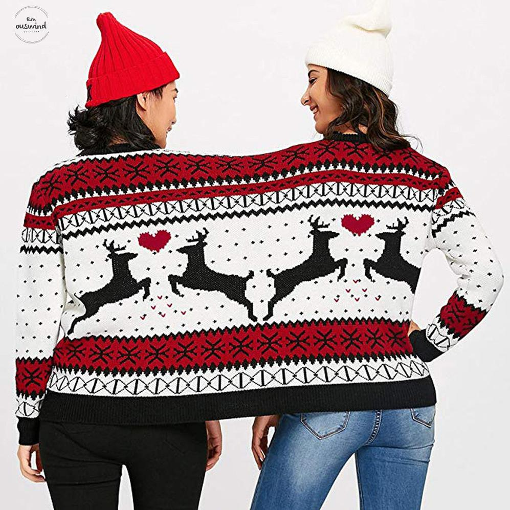 Couples Winter Sweater Pullover 3Xl Person Ugly Sweater Couples Polyester Pullover Novelty Christmas Sweater For Women Pull Femme Two