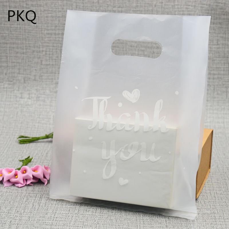 50PCS translúcido obrigado Imprimir presente saco de plástico Favor jóias dom Boutique saco Embalagens plásticas sacos de compras com punho