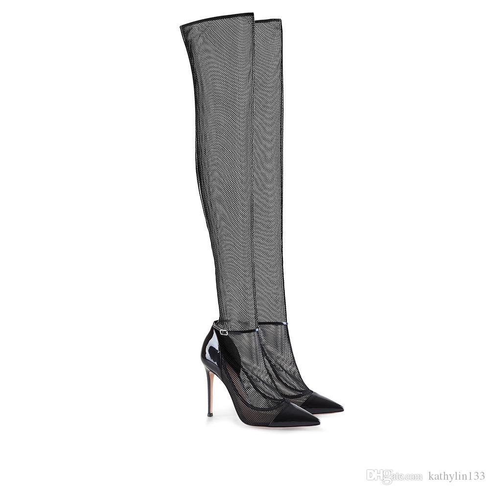 2018 New Fashion Black Lace Mesh punta a punta in pelle super-tacchi alti stiletto stivali alti donna scarpe sexy lady partito stivali shipp libero