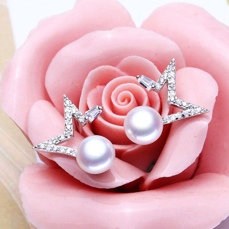 ASHIQI 925 Silver earrings Natural Freshwater Pearl stud Earring For Women Fine Star Sterling Silver Jewelry