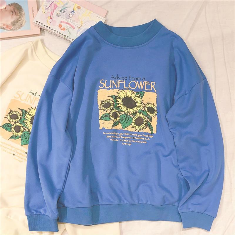 Sunflower Brief gedruckt Herbst-Sweatshirt Frauen Mode Harajuku Sweatshirt Weibliche beiläufige O-Ansatz Oberbekleidung Pullover Top Y200706